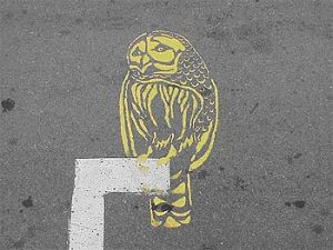 Roadsworth, Owl, spray-painted image, St. Lawrence Boulevard, Montreal.